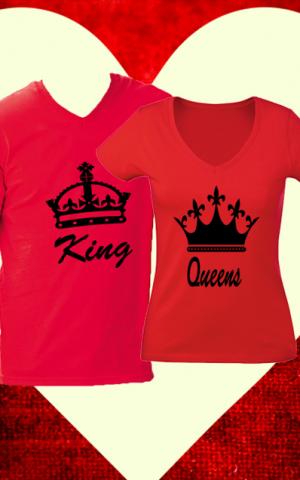 páros pólók king queen piros