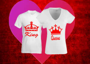 páros póló king and queen fehér