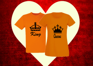 páros póló king and queen narancs