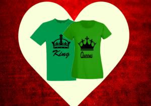 páros póló king and queen zöld