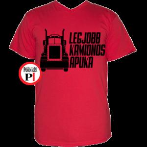 kamionos póló legjobb apuka piros