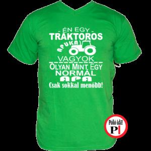 traktoros póló apuka vagyok zöld