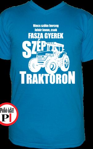 traktoros póló fasza gyerek világos kék