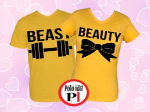 páros pólók beauty and beast citrom