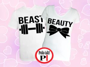 páros pólók beauty and beast fehér