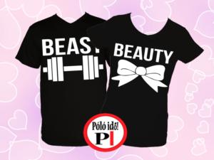 páros pólók beauty and beast fekete