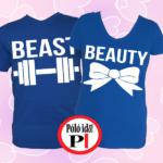 páros pólók beauty and beast kék