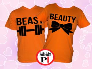 páros pólók beauty and beast narancs