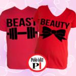 páros pólók beauty and beast piros
