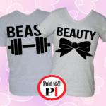 páros pólók beauty and beast szürke