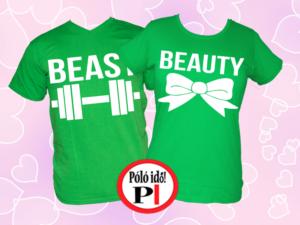 páros pólók beauty and beast zöld