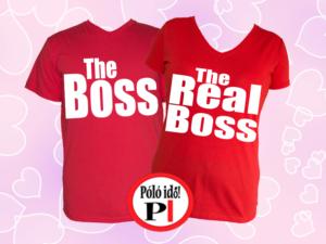 páros pólók főnök piros