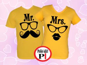 Mrs Mr póló citrom