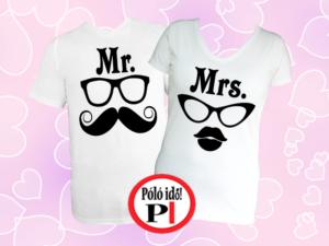 Mrs Mr póló fehér
