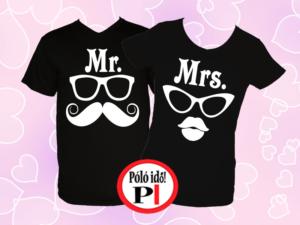 Mrs Mr póló fekete