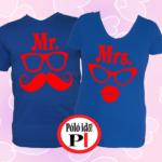 páros pólók mr and mrs kék