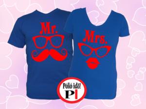 Mrs Mr póló kék