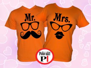 Mrs Mr póló narancs