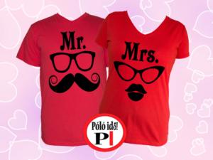 Mrs Mr póló piros