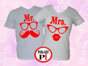 Mrs Mr póló szürke