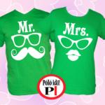 páros pólók mr and mrs zöld