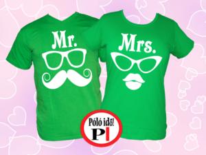 Mrs Mr póló zöld