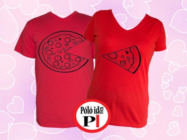 pizza páros pólók piros