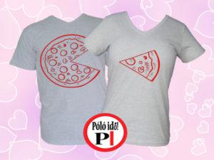 pizza páros pólók szürke