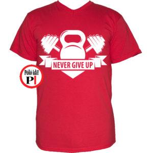 edző póló kettlebell piros