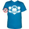 edző póló kettlebell világos kék