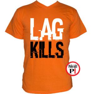 gamer póló lag kills narancs