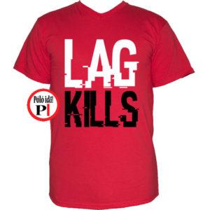 gamer póló lag kills piros