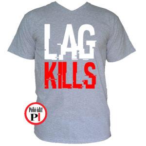 gamer póló lag kills szürke