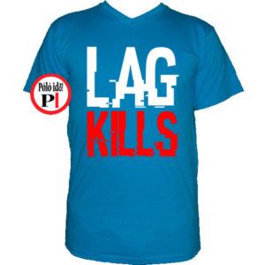gamer póló lag kills világos kék