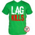 gamer póló lag kills zöld