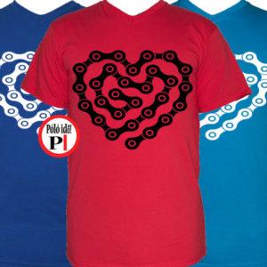 biciklis póló lánc szív