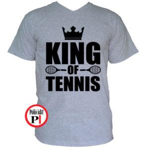 teniszpóló king szürke
