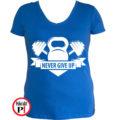 edző póló kettlebell női kék
