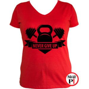 edző póló kettlebell női piros