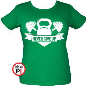edző póló kettlebell női zöld