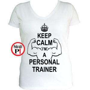 edző női póló personal training fehér