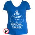 edző női póló personal training kék