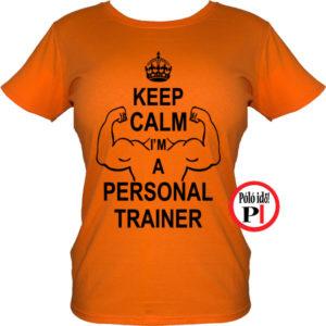 edző női póló personal training narancs