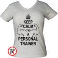 edző női póló personal training szürke