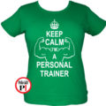 edző női póló personal training zöld