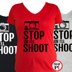 fotós póló állj vagy lövök női