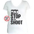 fotós póló állj vagy lövök női fehér