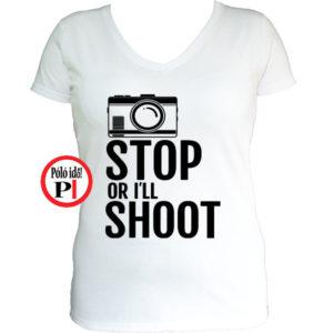 női fotós póló állj vagy lövök fehér