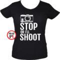 fotós póló állj vagy lövök női fekete