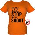 fotós póló állj vagy lövök női narancs
